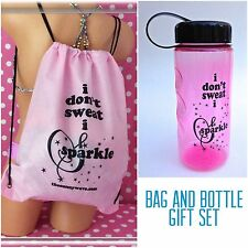 DRAWSTRING BACKPACK BAG & WATER DRINK SPORT FITNESS YOGA GYM BOTTLE GIFT SET