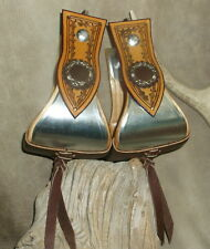 "New Custom 4"" Bell Stirrups For Saddle, Barbed Wire Tooling + Conchos! G&E"