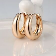 18k Yellow Gold Filled Charms Earrings 20MM Womens Smooth Hoop Huggie Jewelry
