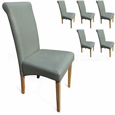 6 Matt Grey Faux Leather Scroll Roll Top Dining Chairs Oak Leg Free Delivery