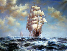 Art Oil painting seascape ship big sail boats on ocean with waves canvas 36""