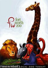 Ft. Fort Worth Texas Zoo Animals United States Travel Advertisement Art Poster
