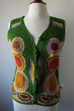 Womens Vintage 60s AWARE Acrylic Leather Sweater Vest Hippie Mod Disco ~ L (N13)