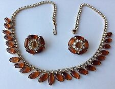 VINTAGE JULIANA TOPAZ AND CLEAR RHINESTONE NECKLACE & EARRINGS