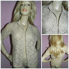 1970s SHEER NUDE LACE BOHEMIAN BLOUSE JACKET 12 M 1970s HIPPY