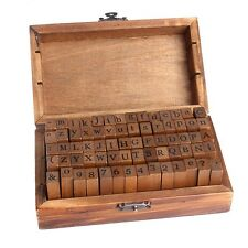 Multi-purpose Number Alphabet Letter Wood Rubber Stamp 1 Set Wooden Box 70pcs