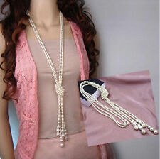 Fashion Women White Artificial Pearls Long Chain Charms Sweater Necklace Gifts