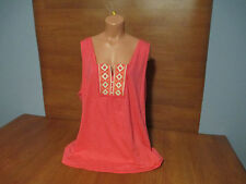 New Womens Plus Size 2X Relativity Orange Tank Top Shirt Embroidered Chest
