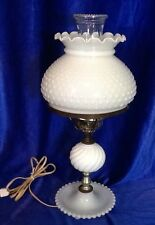 Vintage Fenton Hobnail White Milk Glass Electric Hurricane Table Lamp 18 Inches