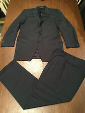 CANALI Men's Italian Solid Navy Blue Wool 2-Piece Suit Size 44L Pants 36X33