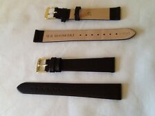 leather watch strap by Condor,,genuine calf,matt dark brown, 14mm lug,081r02