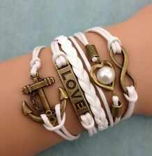 NEW Infinity Love Heart Pearl Anchor Leather Charm Bracelet plated Copper !!!