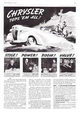 "1937 Chrysler Royal Convertible Coupe art ""Tops 'em All"" print ad"