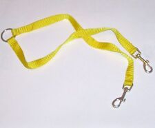 Two-Way Leash Coupler w/ 12-inch Nylon Leads Dog Walking Accessory Safety Yellow