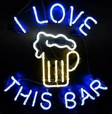 "New I Love This Bar Beer Bar Man Cave Neon Sign 17'x14"" Ship From USA"