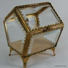 Vintage Hollywood Regency STYLEBUILT Beveled Glass Ormalu Jewlery Casket House