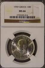 1959 Greece 10 Drachmai Ngc Ms66 * Free U.S. Shipping *
