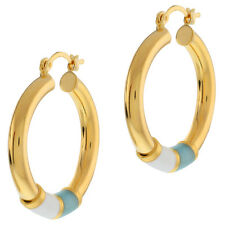 "1"" Stunning Blue & White Hoggies Gold Plated Earrings Hinged Back"