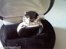 4.70CTW BLACK & WHITE LCS DIAMOND ENGAGEMENT HALO RING SZ 8 + GIFT