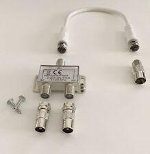 2-fach TV & Radio Verteiler Weiche Zweifachverteiler, inkl. 20cm Anschlusskabel