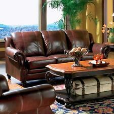 Princeton Sofa & Love Seat Leather 2 Piece Furniture Set Traditional Style Couch