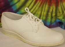 9-9.5-10 vintage 50s-60s white leather Velvet Step lace-up wedge oxfords shoes