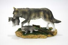 Wolf With Two Pups Resin Statue Figurine Nature Scene