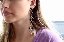 RARE KATE SPADE DRAMATIC LONG CRYSTAL CONFETTI BLACK CLEAR CHANDELIER EARRINGS