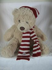Baby Kids Teddy Bear Red White Hat Scarf Aeropostale Plush Lovey Beige  A87