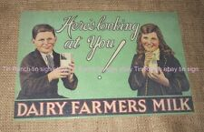 DAIRY FARMERS MILK TIN SIGN new vintage antique style Australian MILK BAR  DINER