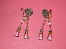 MIRIAM HASKELL Vintage Rhinestone & Crystal Dangle Clip Earrings
