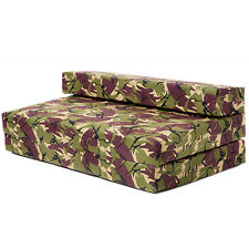 Double Sofa Bed Jungle Camouflage Z Foam Fold Out Futon Gaming Camping Boys Seat
