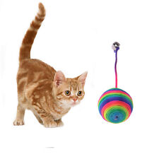 NEW Rainbow Color Nylon Ball Pets Cat Kitten Kitty Toys Attractive Fun Funny Toy
