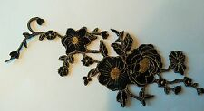 Sew on & iron on  patches(black embroidered flower)
