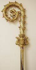Used traditional Bishop Crosier - all polished brass - Bishop Staff - crozier