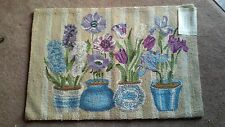 Hand Hooked 2'x3' Purple &Blue Potted Flowers Themed Rug - Very Beautiful - NWT