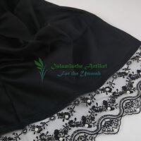 Hochwertiger Schal mit Spitze & Perlen - Schwarz - Hijab - Kopftuch