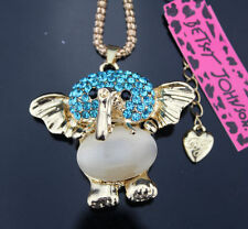 A27 Betsey Johnson Crystal Elephant Pendant Sweater Chain Necklace