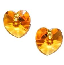SCI145 TOPAZ Orange 10mm Faceted Xilion Heart Swarovski Crystal Beads 2/pkg