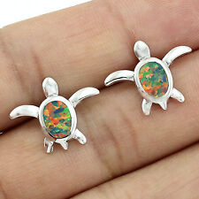 Tiny Orange Fire Opal Turtle Women Jewelry Silver Plated Stud Earrings LE160