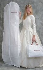 "Bridal Gown Wedding Dress Storage Bag White Breathable 72"" Long with 10"" Gusset"