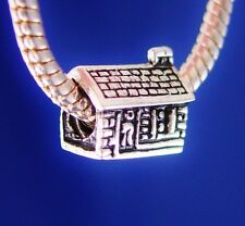 Log Cabin Cottage Woods Home House Silver European Charm Bead fit for bracelet