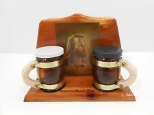 Napkin Holder Jesus Painting Salt Pepper Shakers Cypress Wood Rare Collectible