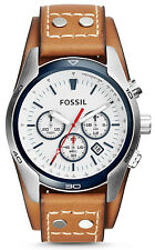 Fossil CH2986 Men's Coachman Light Brown Leather Cuff Band Chronograph Watch