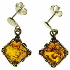 ORANGE BALTIC AMBER STERLING SILVER 925 DIAMOND SHAPE DANGLING STUD EARRINGS