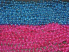 6 DOZEN (72) PINK/BLUE MARDI GRAS BEADS-BABY SHOWER/GENDER REVEAL-FREE SHIPPING
