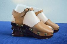 Vintage 70's hand carved wood Platform leather shoes NOS by JIM AGNEAUX hippie