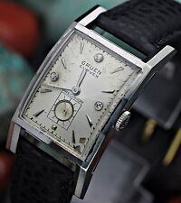 Vintage GRUEN Precision CURVEX Cal. 370 14K White Gold Diamond Dial Dress Watch