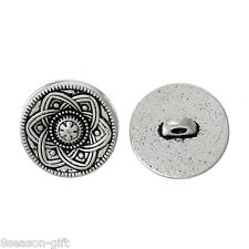 30pcs Silver Tone Flower Decorative Metal Buttons Fit Sewing Scrapbook 15mm