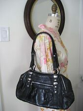 B MAKOWSKY Black Croc Embossed Leather Dual Compartment TZ Satchel Shoulder Bag